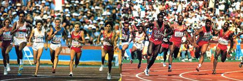 1984 Olympics - women sprinters (L), men sprinters (R)
