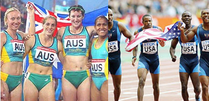 2000 Olympics 4x100 relay teams - Australian women (L), US men (R)