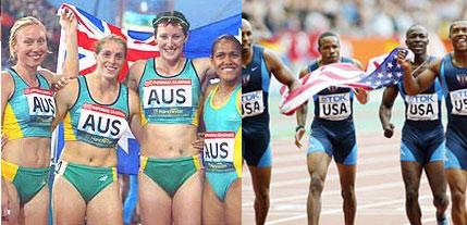 2000 Olympics 4x100 relay teams - Australian women (L), US men (R)