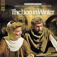"""Cropped from a film poster for """"The Lion In Winter"""" showing Katharine Hepburn as Eleanor of Aquitaine with Peter O'Toole as Henry Plantagenet"""