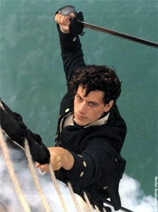 Hornblower climbs the rigging with his sword at the ready