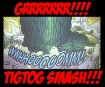 image of Godzilla crushing Bambi, caption reads GRRR!!!! TIGTOG SMASH!!!