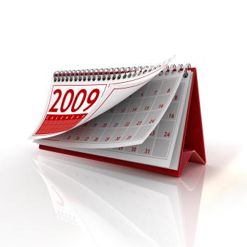 2009 desktop calendar with pages riffling in an apparent breeze