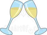 Two Wine Glasses Toasting With White Wine At A Wedding, Anniversary Or Other Event Clipart Illustration