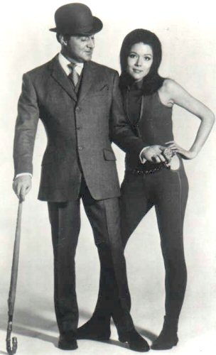 Diana Rigg in a publicity photo for The Avengers with Patrick McNee