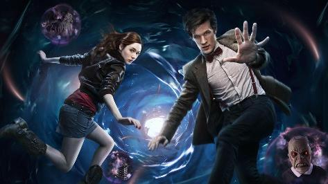 Karen Gillan as Amy Pond and Matt Smith as the Eleventh Doctor float in the Time Vortex -- a watery blue tunnel with a light at the end.  Amy, a white red-head with long hair, wears a blue mini-skirt, a red t-shirt, a black leather jacket and black calf high boots.  The Eleventh Doctor, a white brown-haired man with floppy but short hair, wears dark blue trousers, a white and beige stripy shirt with maroon bowtie and suspenders, and a tweed jacket.  Around the Doctor and Amy we see three reddish bubbles, containing monsters that they will presumably face in the upcoming season: a weeping angel, a dalek, and an angry frowning clown face with red eyes.