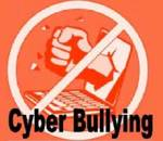 A logo of a bunched fist punching out of a computer monitor with the international symbol for NO superimposed, captioned CYBER BULLYING