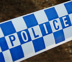 bluce and white checked police crime scene tape