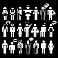 a black and white square showing stylised images of people with superficial racial characteristics associated with various supposed cultural traits