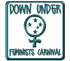 In blue on a white background, the DUFC logo: in a square with rounded corners, there is the female/feminine symbol; with the Southern Cross inside, above which it says 'Down Under' and below 'Feminists Carnival'.