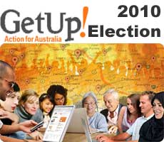 a graphic for GetUp!'s GetTogether local action coordination meetings showing a diverse group of people around a table with computer screens on it and a graphic of a map of Australia in the background