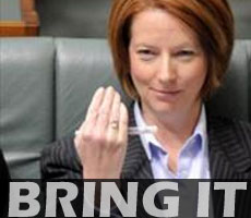 "Julia Gillard on the front bench of the House of Representatives, signalling to the Opposition to ""bring it on""."