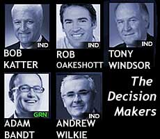 headshots of the 5 MPs who will now decide who makes the next government of Australia - Bob Katter (IND), Rob Oakeshott (IND) Adam Bandt (GRN), Tony Windsor (IND), Andrew Wilkie (IND)