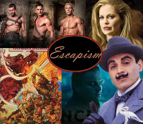A selection of images from Spartacus: Blood and Sand, True Bloog (showing Pam), Poirot, the movie Inception, the book cover of Guards! Guards! by Terry Practchett