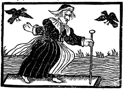 An old engraving of a woman called a witch, accompanied by two ravens