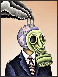 A body wearing a man's business suit has a globe of Planet Earth as his head.  While he wears a gasmask to breathe (the airspace around him is brown) he has chimney stacks coming out of his head which are pumping pollution into the air
