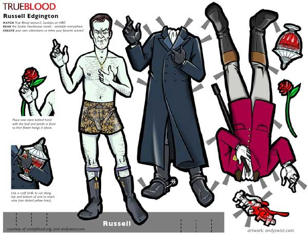 a template for a paper doll of True Blood character Russell Edgington (King of Mississippi)