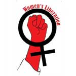 A red fist raised inside a WOMAN symbol, the words Women's Liberation are added at the top-right