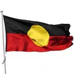 The black, red and yellow flag of the Australian Aboriginal Indigenous Rights Movement