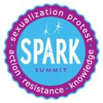 a logo with a blue centre and a dark pink-purple wavy border - text in the centre says SPARK SUMMIT, text around the border says 'sexualization protest-action-resistance-knowledge'