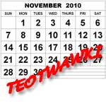 """A page from a calendar for November 2010 - """"TEOTWAWKI"""" is written over it in bright red slanted letters"""