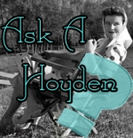 "an on-set photo of Katharine Hepburn, with overlaid text reading ""Ask A Hoyden?"""