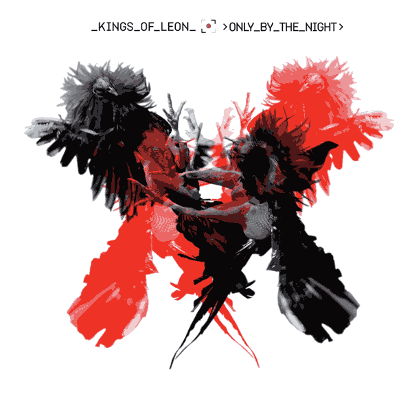 the cover art for Only By The Night album by Kings of Leon - two highly stylised birds are confronting each other, one black and one red