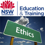 "the logo for the NSW Government Dept of Education and Training over a picture of a highway sign that reads ""Ethics"""