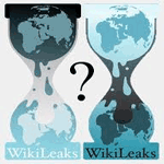 Two hourglasses as per the Wikileaks logo with a question mark between them