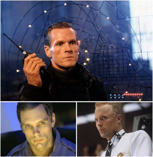 a three-panel image of William Sadler as Col. Stuart in Die Harder, Keir Dullea in 2001 A Space Odyssey, and Ed Harris in Apollo 13