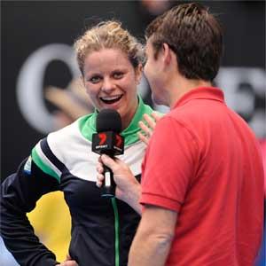 Kim Clijsters talks to Tood Woodbridge