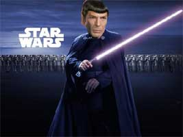 A poster for Star Wars with Darth Vader leading the Clone Army has been photoshopped with Leonard Nimoy's face instead