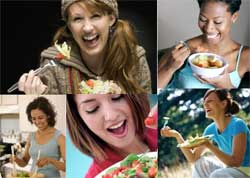 a collage of women holding salads and laughing