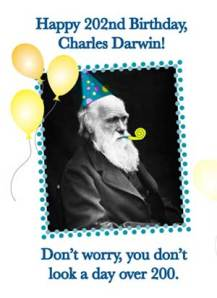 A photo portrait of Charles Darwin, overlaid with a party hat, bubble pipe and party balloons