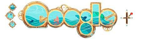 Google doodle made to look like portholes of a submarine