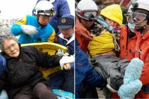 80-year-old Sumi Abe and her 16-year-old grandson Jin are rescued from under the rubble in Ishinomaki City, nine days after Japan an earthquake and tsunami ravaged Japan.