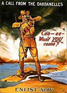 An ANZAC infantryman stands astride the map, calling *Coo-ee- won't YOU come?*