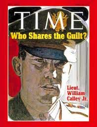 Time magazine cover asks *Who Shares The Guilt?* above an image of William Calley Jr.