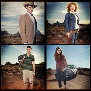 Promotional photographs of The Doctor, River, Amy and Rory in the Arizona Desert