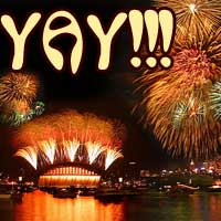 Fireworks plus the word YAY!!!