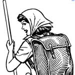 A woman with a walking staff, wearing a scarf on her head and a knapsack on her back
