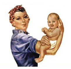 Rosie the Riveter with a baby