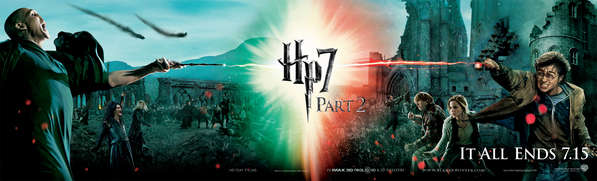 A wide poster of the characters we will see battling in the final Harry Potter movie - Harry and Voldemort are casting spells at each other which meet in the middle to form a brilliant ball of light