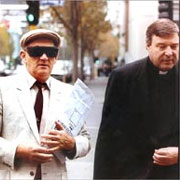 Then-Bishop George Pell accompanies accused paedophile priest Gerald Ridsdale to court in 1993