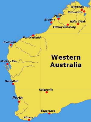 a yellow map of western australia on a blue background
