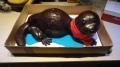 Shiny otter shaped cake