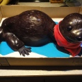 Shiny otter shaped cake