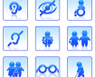 9 accessibility icons in a 3x3 grid - hearing, sight, mobility, age, dyslexia etc