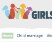 Part of the Girls Not Brides website header. A logo features colourful silhouettes of girls with various hairstyles, with the world Girl to the right. Below are two of the navigation buttons, Home and Child marriage, with Home highlighted.