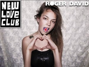 """A thin girl, who looks underage, is looking at camera and making a heart shape with her hands. She has a union jack in her open mouth and a barcode tattoo on her shoulder. The name of the clothing line she is advertising, """"New Love Club"""", is at top left."""